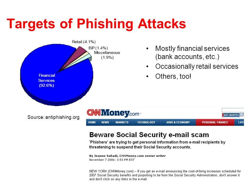 28 Targets of Phishing Attacks Mostly financial services (bank accounts, etc.) Occasionally retail services Others, too! Source: antiphishing.org
