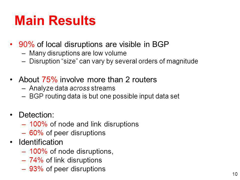 10 Main Results 90% of local disruptions are visible in BGP –Many disruptions are low volume –Disruption size can vary by several orders of magnitude About 75% involve more than 2 routers –Analyze data across streams –BGP routing data is but one possible input data set Detection: –100% of node and link disruptions –60% of peer disruptions Identification –100% of node disruptions, –74% of link disruptions –93% of peer disruptions