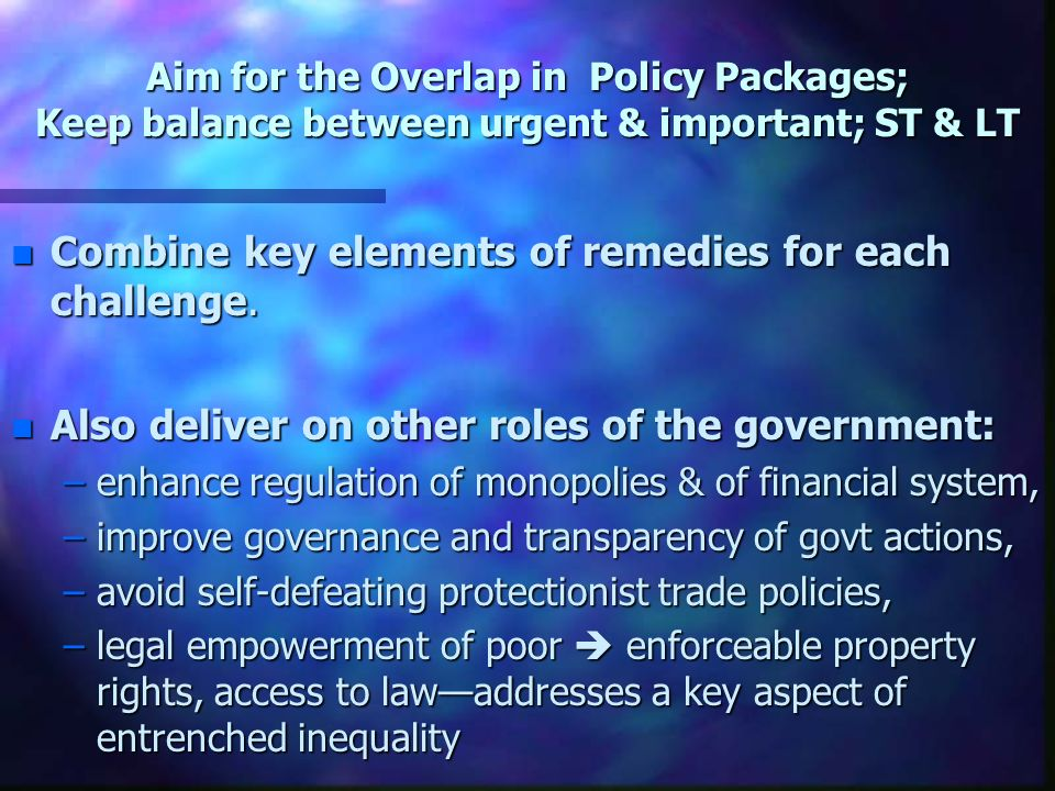 Examples of building blocks of policy response 1.