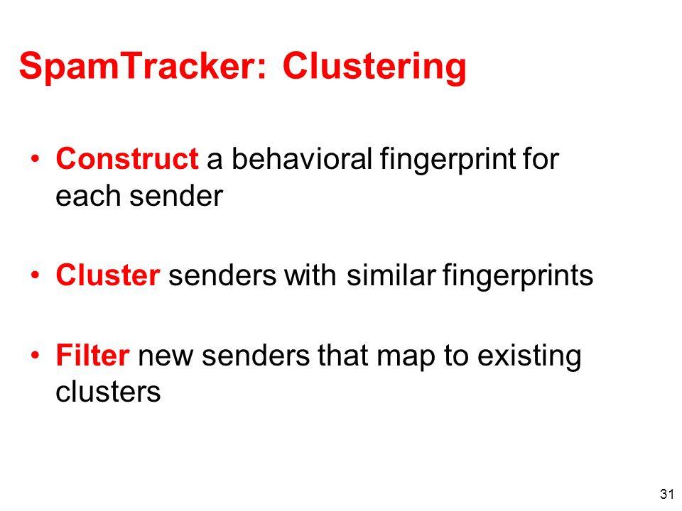 31 SpamTracker: Clustering Construct a behavioral fingerprint for each sender Cluster senders with similar fingerprints Filter new senders that map to