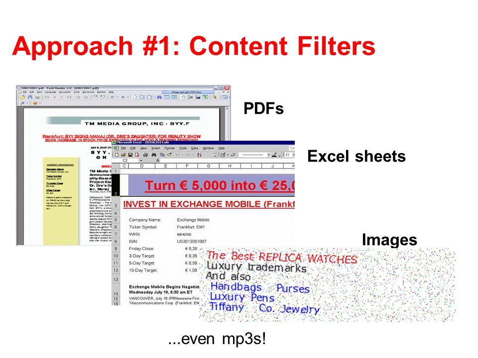 Approach #1: Content Filters...even mp3s! PDFs Excel sheets Images