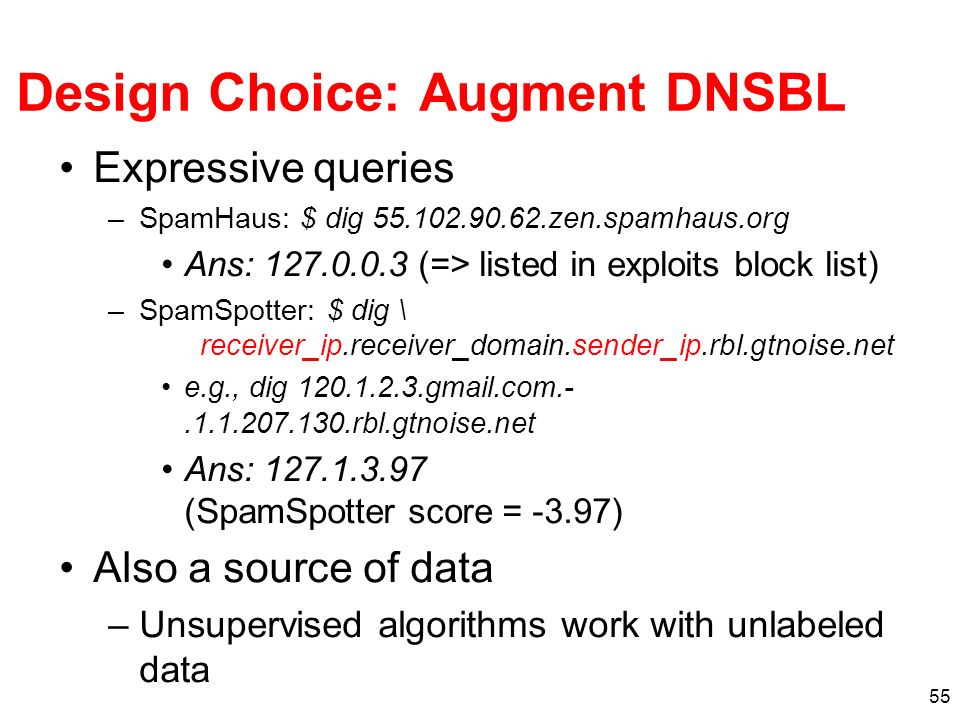 55 Design Choice: Augment DNSBL Expressive queries –SpamHaus: $ dig 55.102.90.62.zen.spamhaus.org Ans: 127.0.0.3 (=> listed in exploits block list) –S