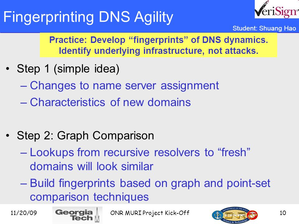 11/20/09 ONR MURI Project Kick-Off 10 Fingerprinting DNS Agility Step 1 (simple idea) –Changes to name server assignment –Characteristics of new domains Step 2: Graph Comparison –Lookups from recursive resolvers to fresh domains will look similar –Build fingerprints based on graph and point-set comparison techniques Practice: Develop fingerprints of DNS dynamics.