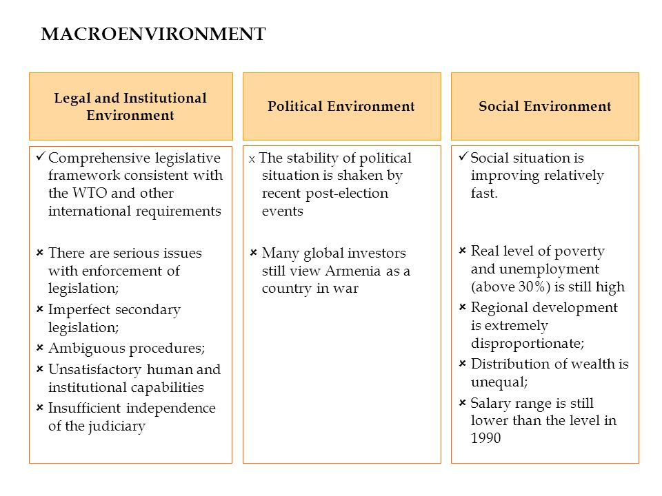 MACROENVIRONMENT Legal and Institutional Environment Political Environment Comprehensive legislative framework consistent with the WTO and other inter