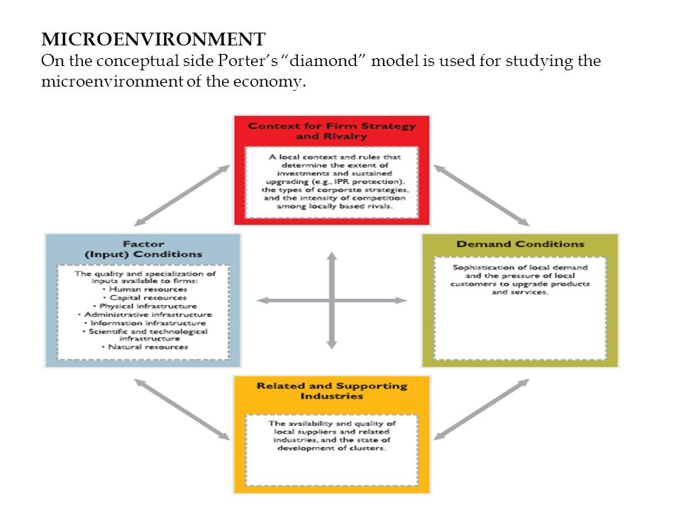 MICROENVIRONMENT On the conceptual side Porters diamond model is used for studying the microenvironment of the economy.