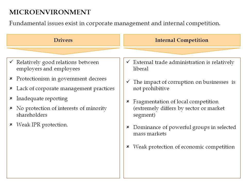 MICROENVIRONMENT Fundamental issues exist in corporate management and internal competition. Relatively good relations between employers and employees