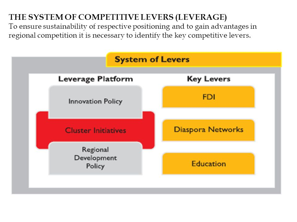 THE SYSTEM OF COMPETITIVE LEVERS (LEVERAGE) To ensure sustainability of respective positioning and to gain advantages in regional competition it is ne