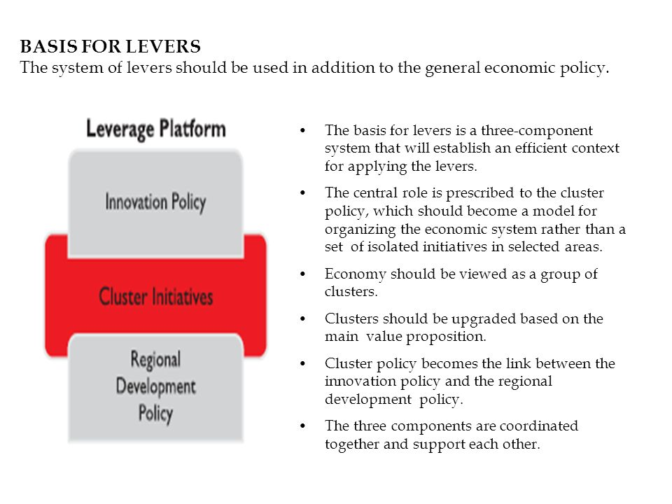 BASIS FOR LEVERS The system of levers should be used in addition to the general economic policy. The basis for levers is a three-component system that