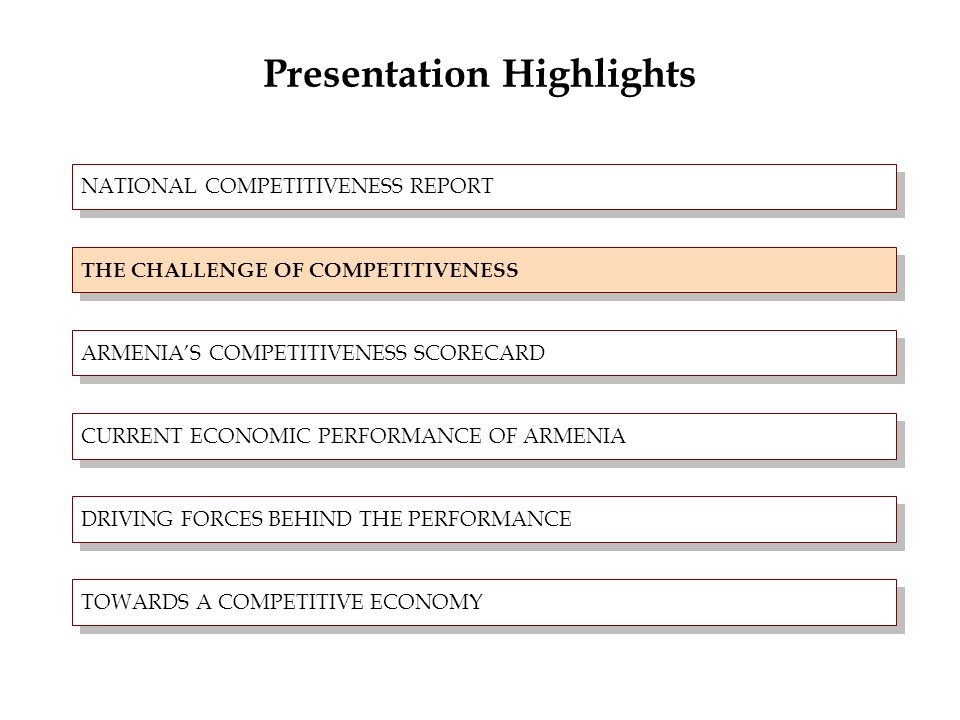 Presentation Highlights NATIONAL COMPETITIVENESS REPORT CHALLENGE OF COMPETITIVENESS ARMENIAS COMPETITIVENESS SCORE CURRENT ECONOMIC PERFORMANCE OF ARMENIA DRIVING FORCES BEHIND THE PERFORMANCE TOWARDS A COMPETITIVE ECONOMY