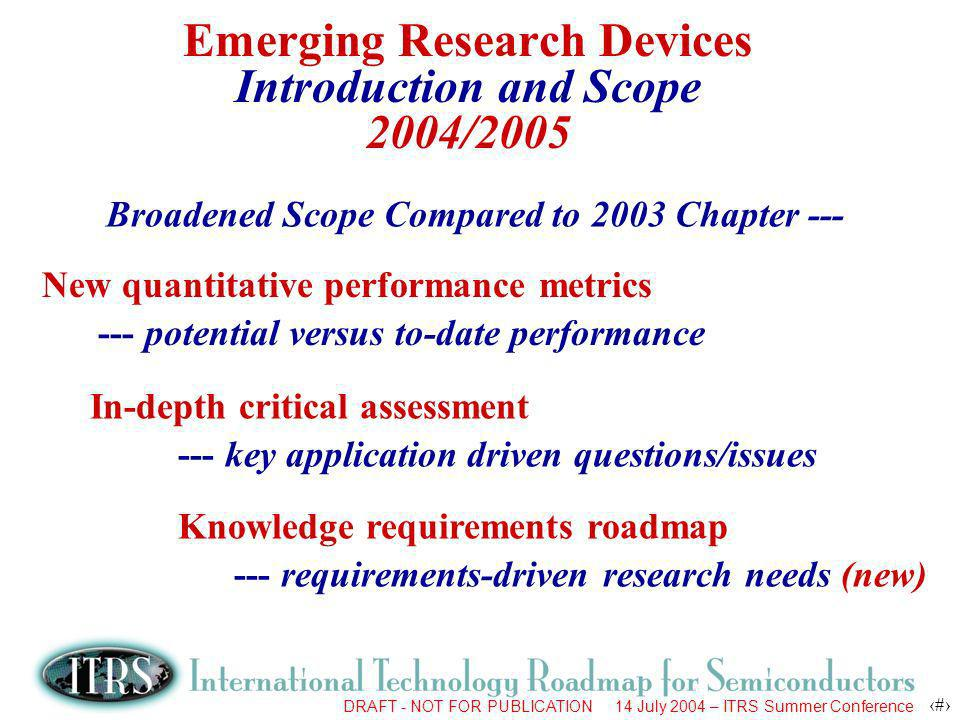 DRAFT - NOT FOR PUBLICATION 14 July 2004 – ITRS Summer Conference 18 Emerging Research Devices Organization & Component Tasks (2004/2005) Emerging Research Devices Emerging Logic and Memory Devices Emerging Architectures Emerging Materials Add to ERD in 2004