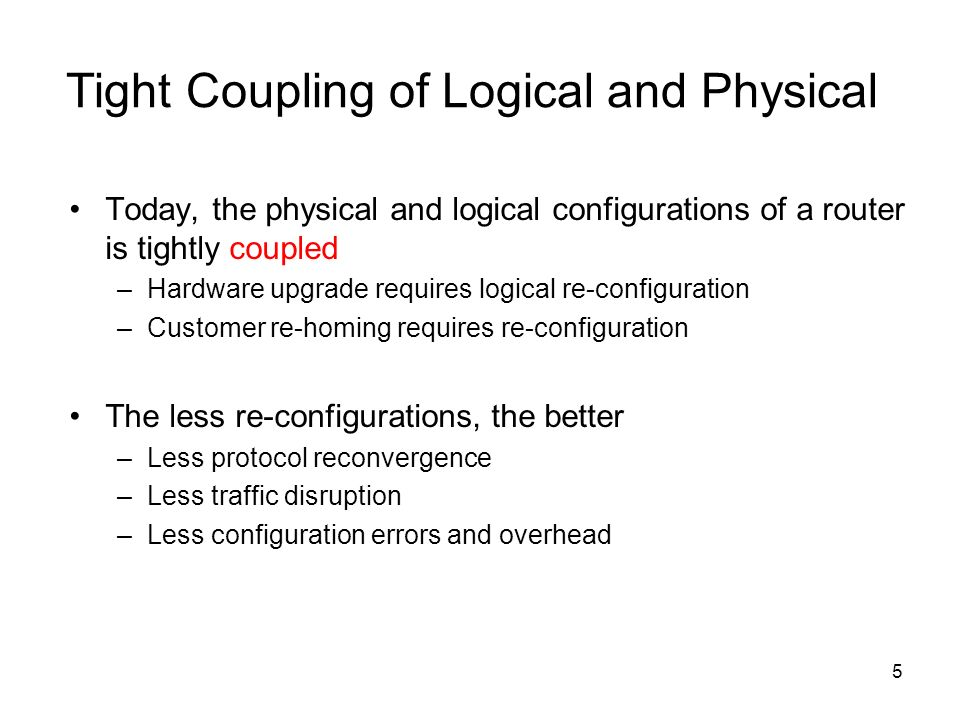 5 Tight Coupling of Logical and Physical Today, the physical and logical configurations of a router is tightly coupled –Hardware upgrade requires logi
