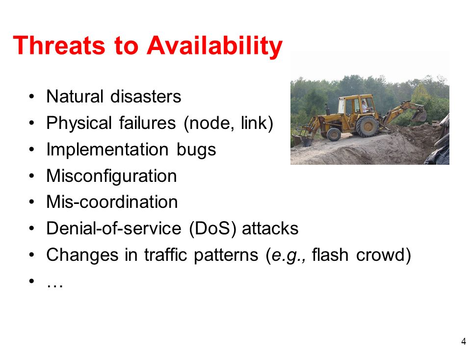 4 Threats to Availability Natural disasters Physical failures (node, link) Implementation bugs Misconfiguration Mis-coordination Denial-of-service (DoS) attacks Changes in traffic patterns (e.g., flash crowd) …