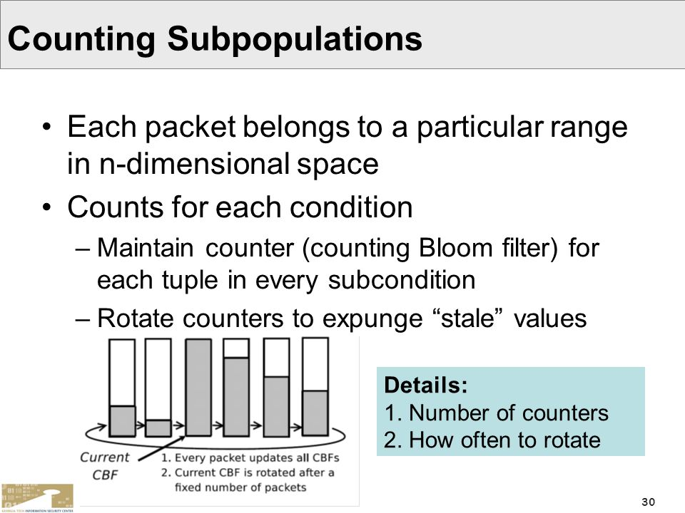30 Counting Subpopulations Each packet belongs to a particular range in n-dimensional space Counts for each condition –Maintain counter (counting Bloo