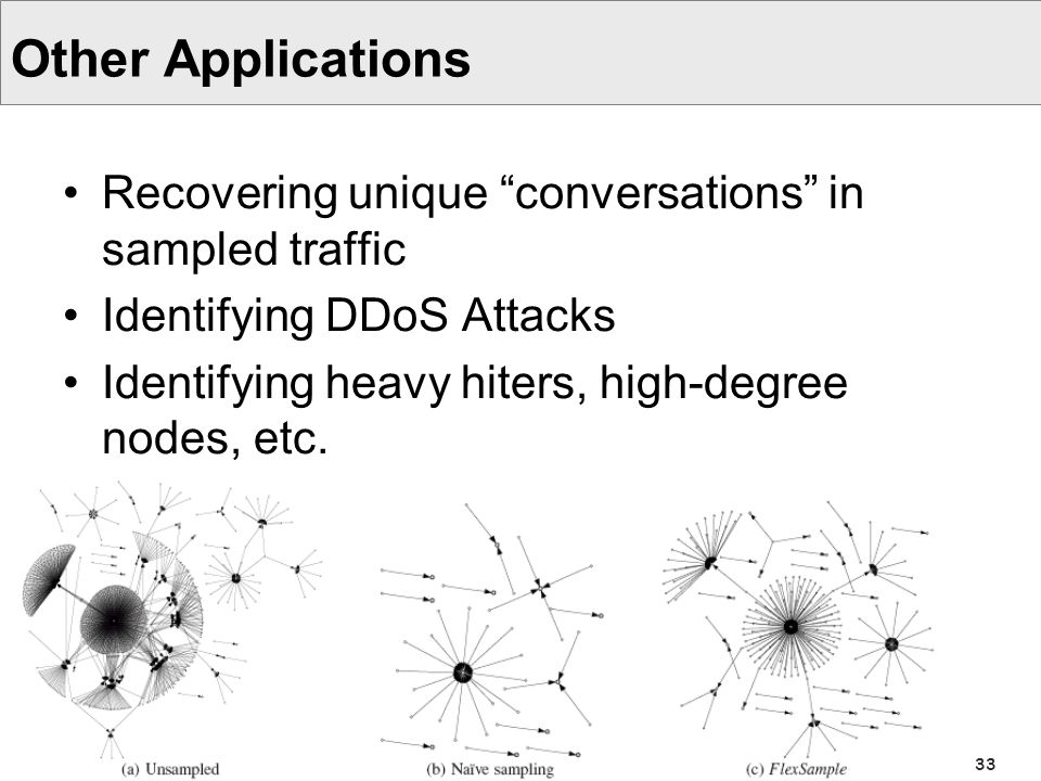 33 Other Applications Recovering unique conversations in sampled traffic Identifying DDoS Attacks Identifying heavy hiters, high-degree nodes, etc.
