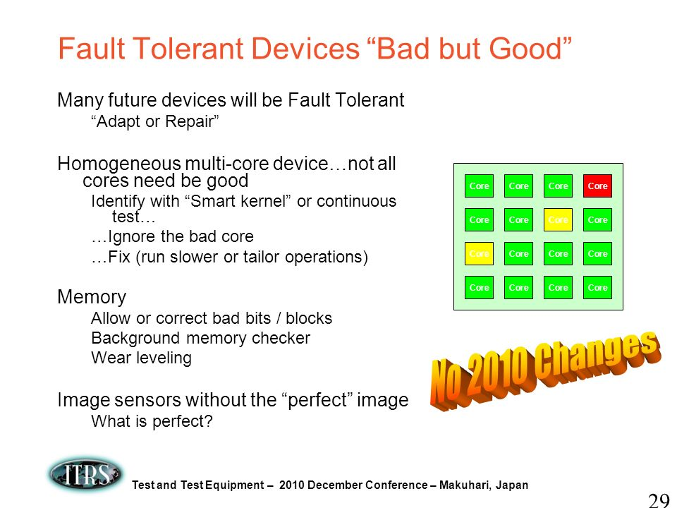 Test and Test Equipment – 2010 December Conference – Makuhari, Japan Fault Tolerant Devices Bad but Good Many future devices will be Fault Tolerant Ad