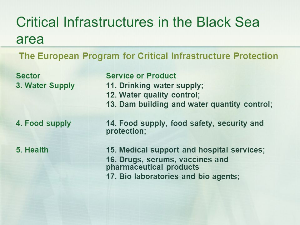 Critical Infrastructures in the Black Sea area The European Program for Critical Infrastructure Protection Sector Service or Product 3.