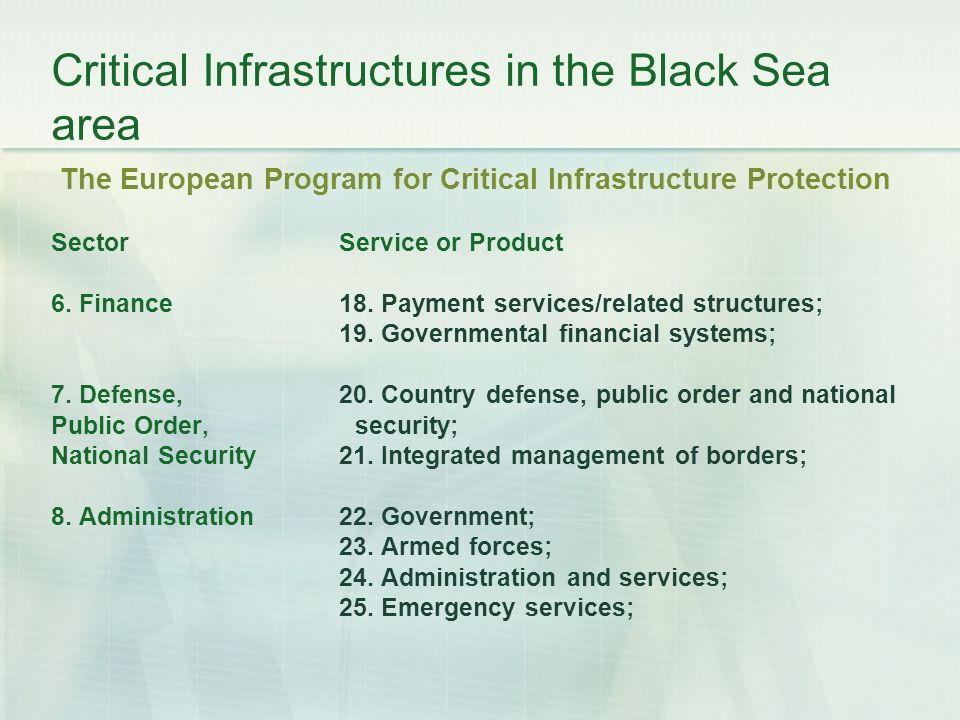 Critical Infrastructures in the Black Sea area The European Program for Critical Infrastructure Protection Sector Service or Product 6.