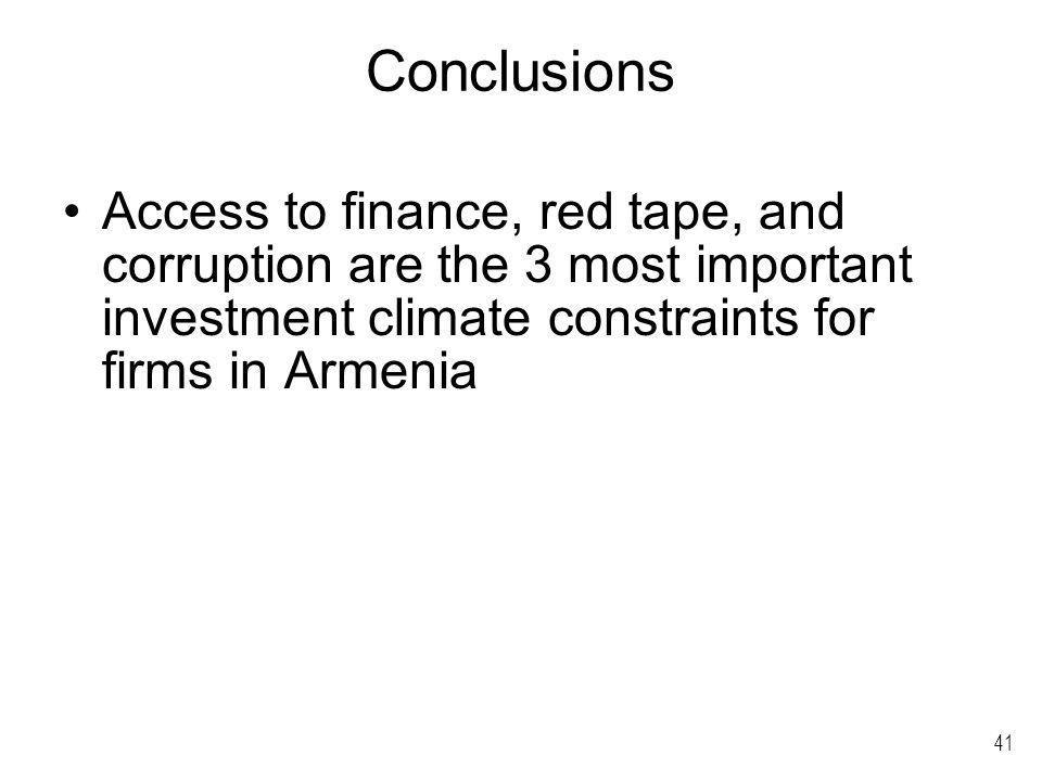 41 Conclusions Access to finance, red tape, and corruption are the 3 most important investment climate constraints for firms in Armenia