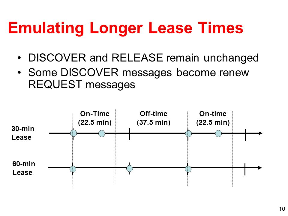 10 Emulating Longer Lease Times DISCOVER and RELEASE remain unchanged Some DISCOVER messages become renew REQUEST messages On-Time (22.5 min) Off-time