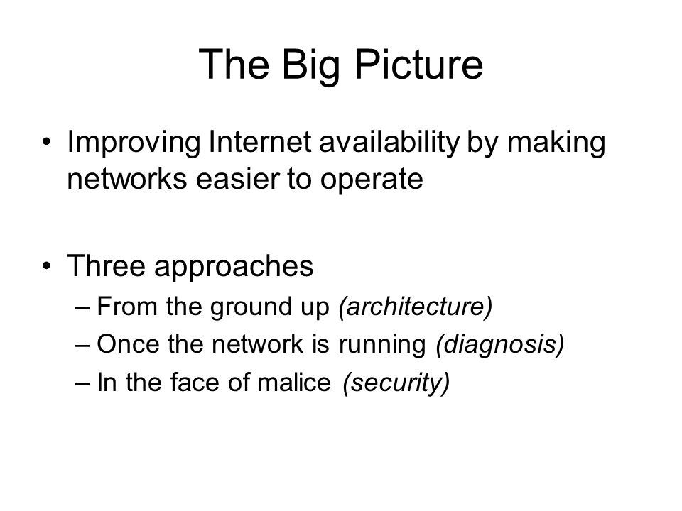 The Big Picture Improving Internet availability by making networks easier to operate Three approaches –From the ground up (architecture) –Once the network is running (diagnosis) –In the face of malice (security)