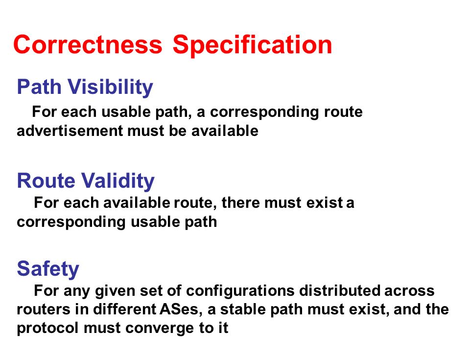 Correctness Specification Path Visibility For each usable path, a corresponding route advertisement must be available Route Validity For each available route, there must exist a corresponding usable path Safety For any given set of configurations distributed across routers in different ASes, a stable path must exist, and the protocol must converge to it