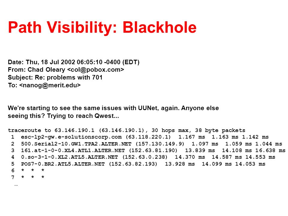 Path Visibility: Blackhole Date: Thu, 18 Jul 2002 06:05:10 -0400 (EDT) From: Chad Oleary Subject: Re: problems with 701 To: We're starting to see the
