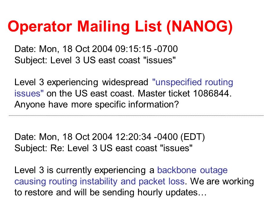 Operator Mailing List (NANOG) Date: Mon, 18 Oct 2004 09:15:15 -0700 Subject: Level 3 US east coast issues Level 3 experiencing widespread unspecified routing issues on the US east coast.