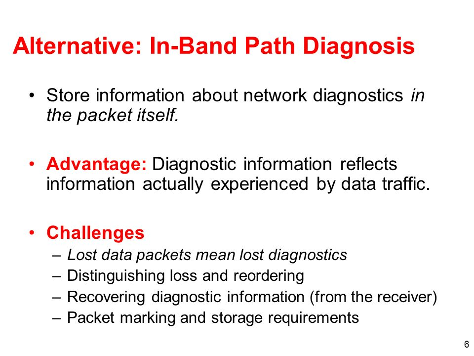 6 Alternative: In-Band Path Diagnosis Store information about network diagnostics in the packet itself.