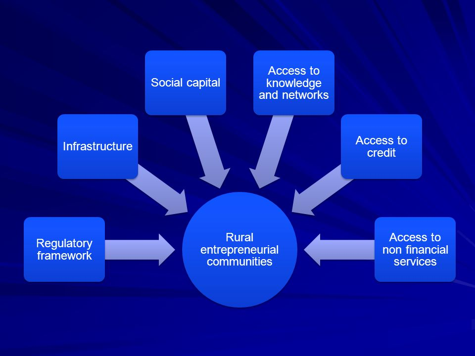 Rural entrepreneurial communities Regulatory framework InfrastructureSocial capital Access to knowledge and networks Access to credit Access to non fi