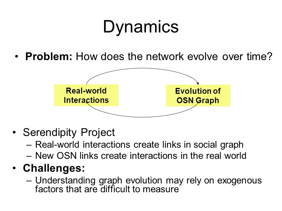 Dynamics Serendipity Project –Real-world interactions create links in social graph –New OSN links create interactions in the real world Challenges: –U