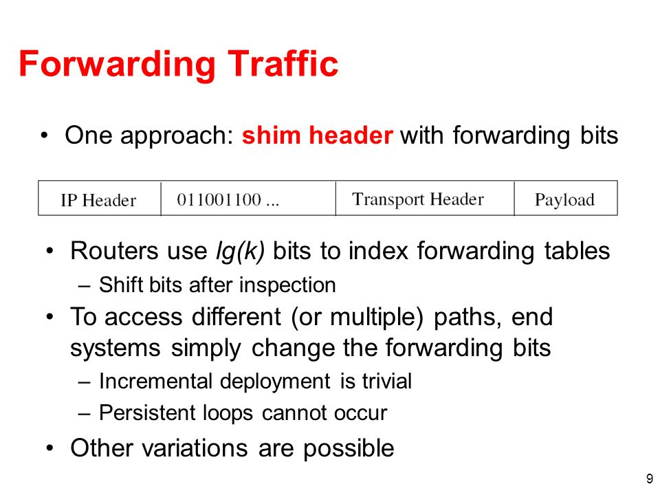 9 Forwarding Traffic One approach: shim header with forwarding bits Routers use lg(k) bits to index forwarding tables –Shift bits after inspection To access different (or multiple) paths, end systems simply change the forwarding bits –Incremental deployment is trivial –Persistent loops cannot occur Other variations are possible