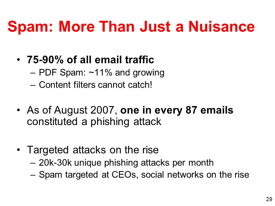 29 Spam: More Than Just a Nuisance 75-90% of all email traffic –PDF Spam: ~11% and growing –Content filters cannot catch! As of August 2007, one in ev