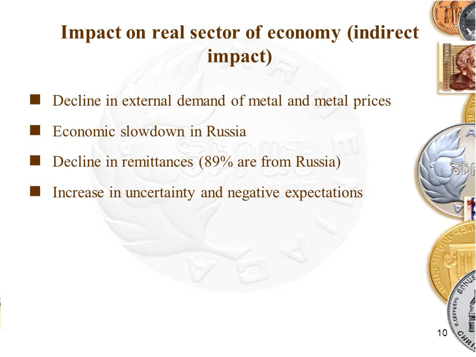 10 Impact on real sector of economy (indirect impact) Decline in external demand of metal and metal prices Economic slowdown in Russia Decline in remi