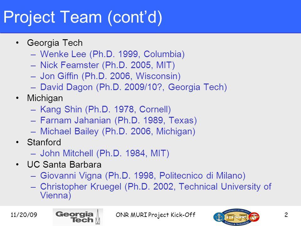 Project Team (contd) Georgia Tech –Wenke Lee (Ph.D.