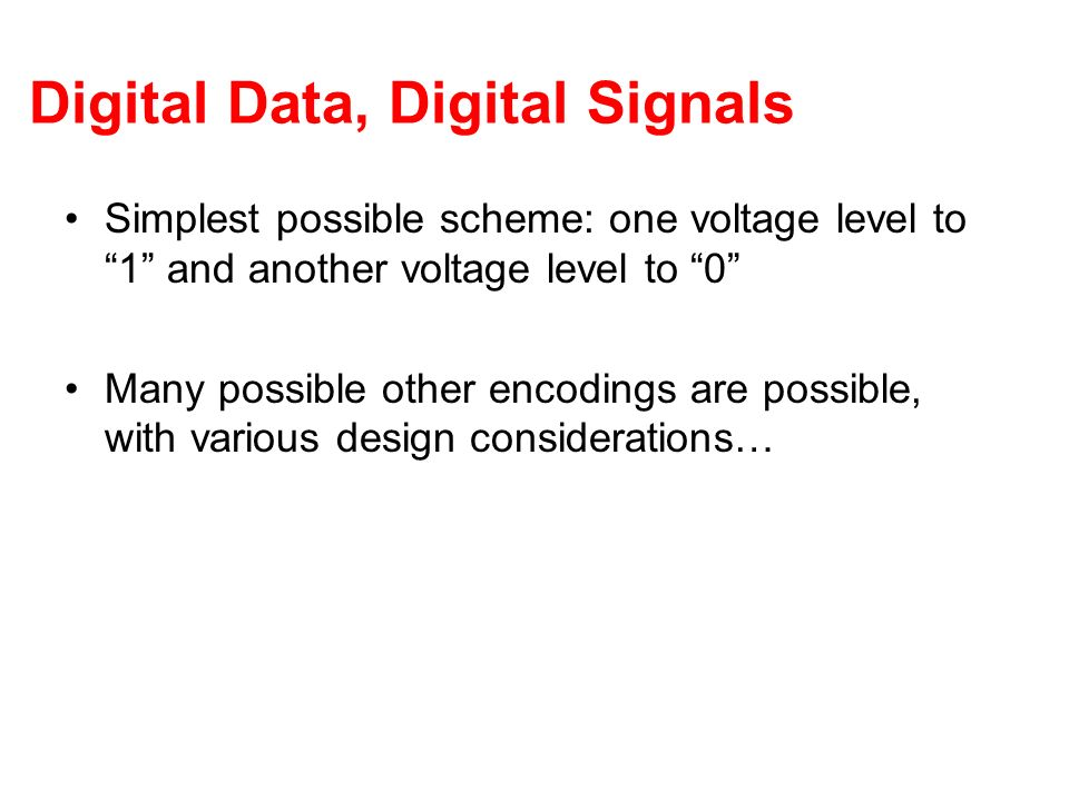 Digital Data, Digital Signals Simplest possible scheme: one voltage level to 1 and another voltage level to 0 Many possible other encodings are possib