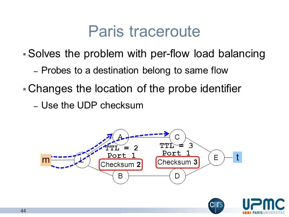 43 Errors happen even under per-flow load balancing L B AC D TTL = 2 Port 2 TTL = 3 Port 3 E Traceroute uses the destination port as identifier Per-fl
