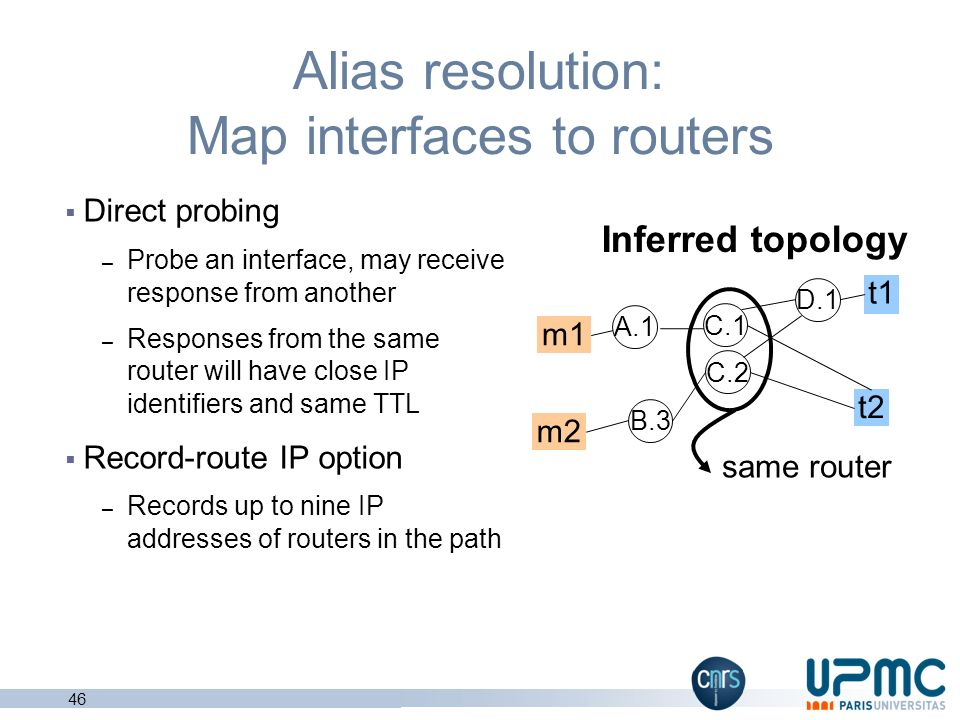4 2 1 1 Topology from traceroutes Inferred nodes = interfaces, not routers Coverage depends on monitors and targets – Misses links and routers – Some