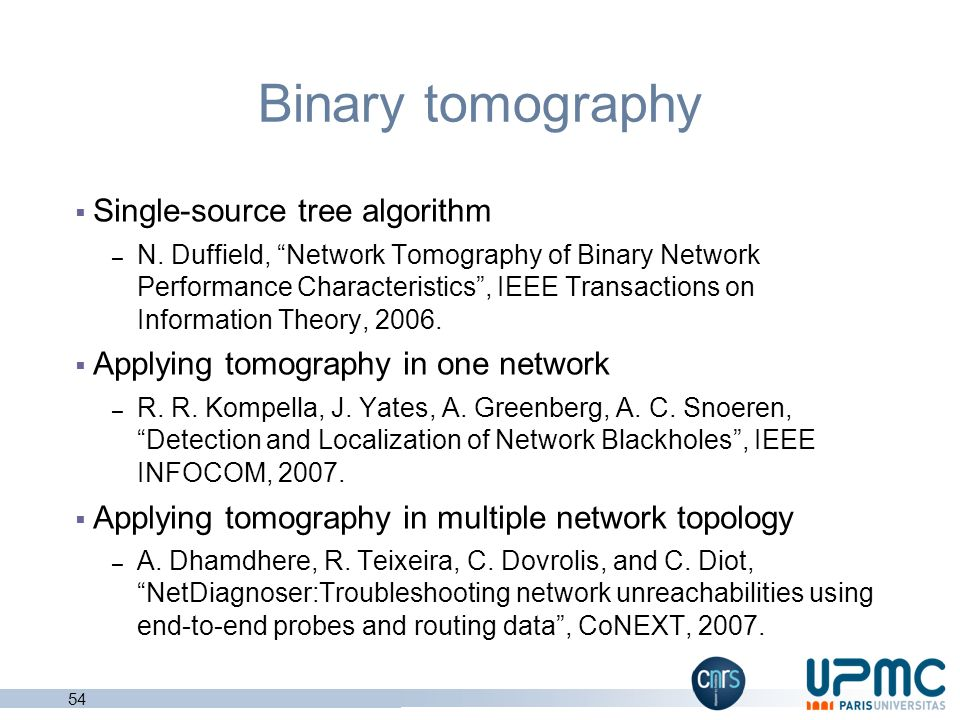 Network tomography theory Survey on network tomography – R. Castro, M. Coates, G. Liang, R. Nowak, and B. Yu, Network Tomography: Recent Developments,