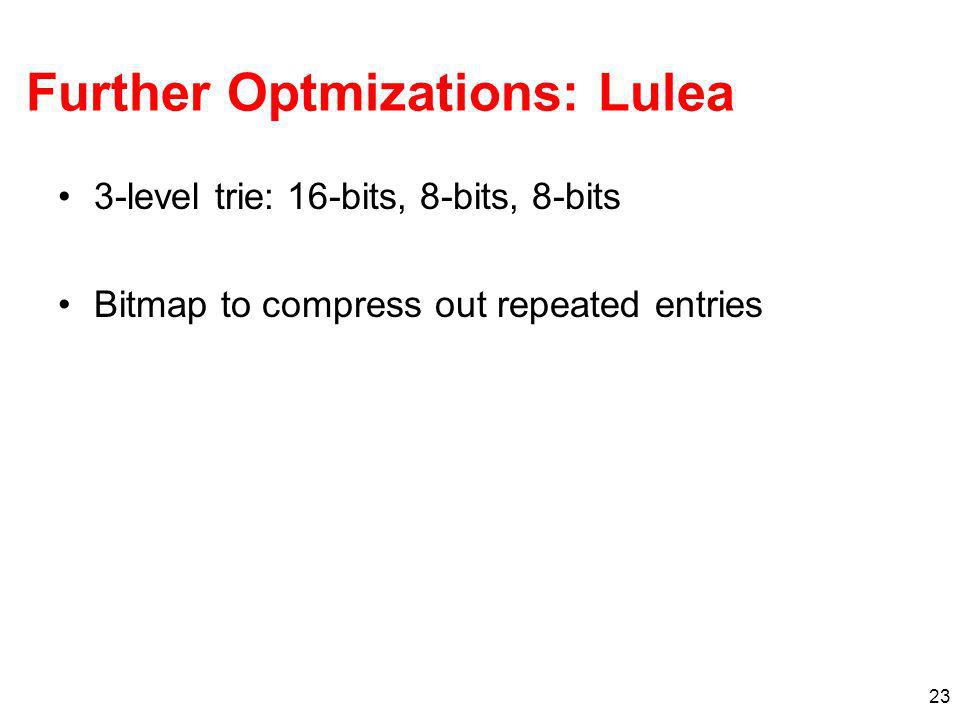 23 Further Optmizations: Lulea 3-level trie: 16-bits, 8-bits, 8-bits Bitmap to compress out repeated entries