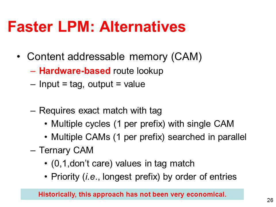 26 Faster LPM: Alternatives Content addressable memory (CAM) –Hardware-based route lookup –Input = tag, output = value –Requires exact match with tag