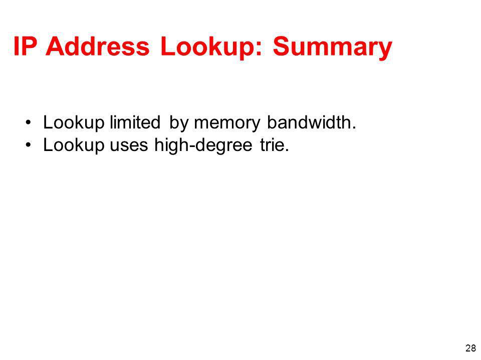 28 IP Address Lookup: Summary Lookup limited by memory bandwidth. Lookup uses high-degree trie.