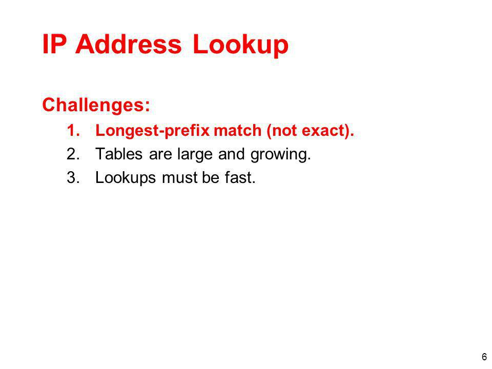 6 IP Address Lookup Challenges: 1.Longest-prefix match (not exact). 2.Tables are large and growing. 3.Lookups must be fast.