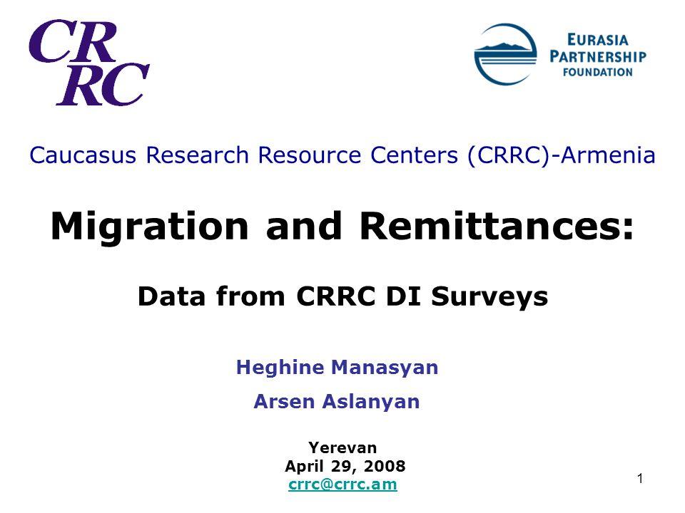 1 Caucasus Research Resource Centers (CRRC)-Armenia Migration and Remittances: Data from CRRC DI Surveys Yerevan April 29, 2008 crrc@crrc.am crrc@crrc.am Heghine Manasyan Arsen Aslanyan