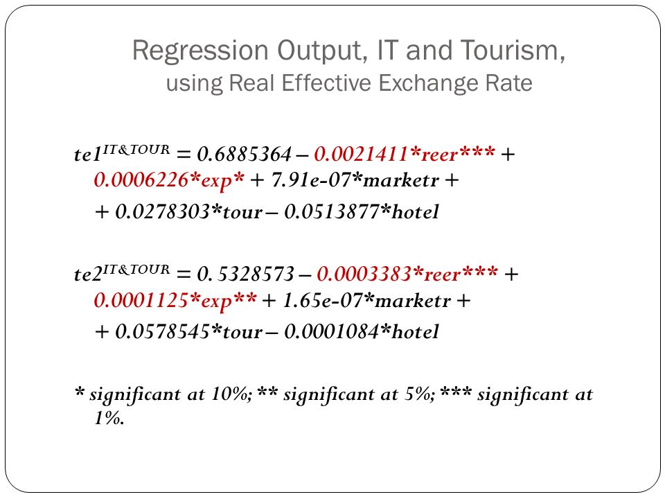 Regression Output, IT and Tourism, using Real Effective Exchange Rate te1 IT&TOUR = 0.6885364 – 0.0021411*reer*** + 0.0006226*exp* + 7.91e-07*marketr