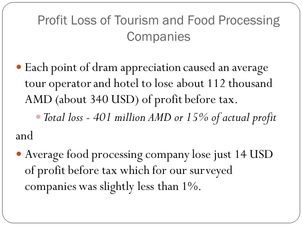 Profit Loss of Tourism and Food Processing Companies Each point of dram appreciation caused an average tour operator and hotel to lose about 112 thous
