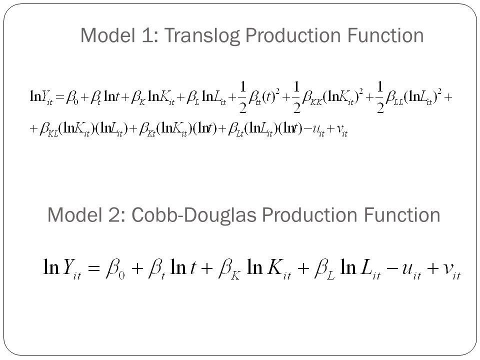 Model 1: Translog Production Function Model 2: Cobb-Douglas Production Function