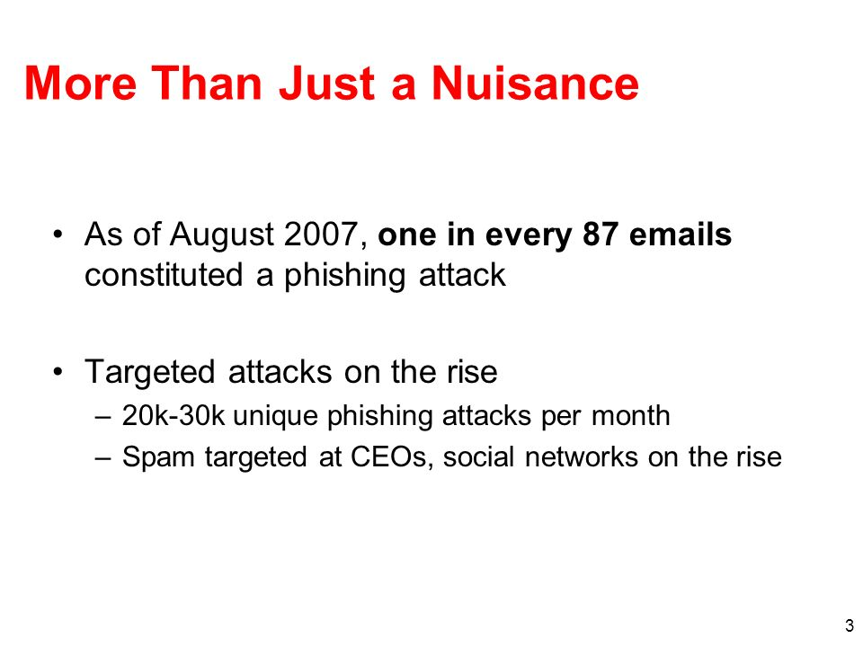 3 More Than Just a Nuisance As of August 2007, one in every 87 emails constituted a phishing attack Targeted attacks on the rise –20k-30k unique phishing attacks per month –Spam targeted at CEOs, social networks on the rise