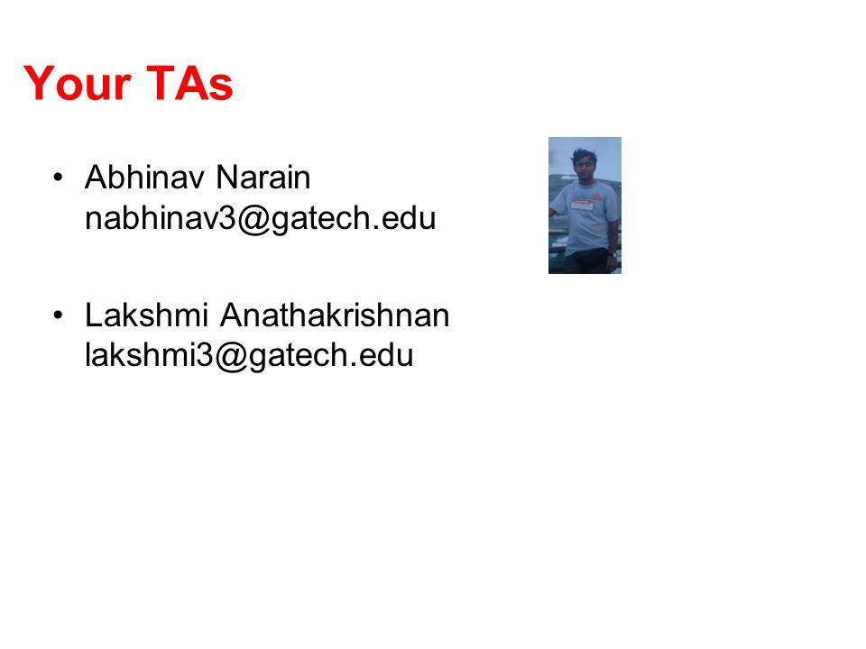 Your TAs Abhinav Narain nabhinav3@gatech.edu Lakshmi Anathakrishnan lakshmi3@gatech.edu