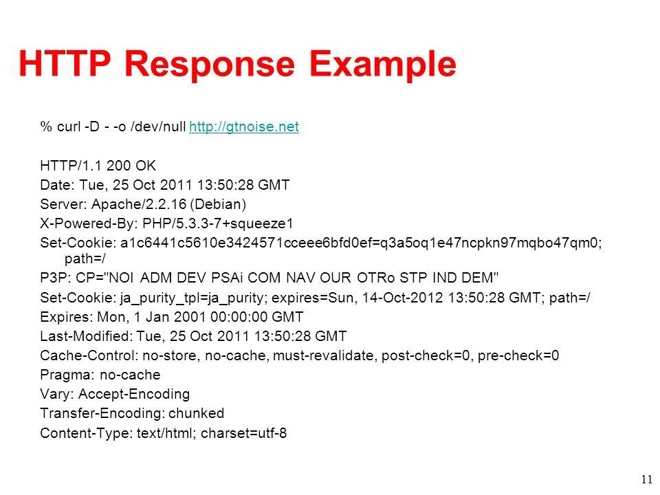 HTTP Response Example % curl -D - -o /dev/null http://gtnoise.nethttp://gtnoise.net HTTP/1.1 200 OK Date: Tue, 25 Oct 2011 13:50:28 GMT Server: Apache
