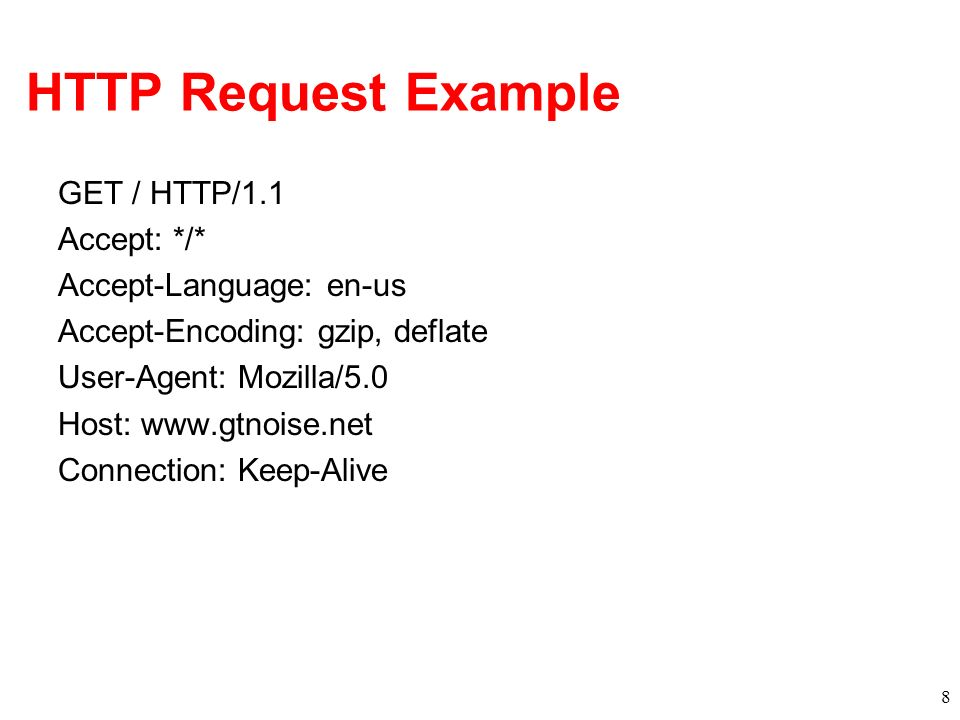 HTTP Response Status-line –HTTP version –3 digit response code 1XX – informational 2XX – success –200 OK 3XX – redirection –301 Moved Permanently –303 Moved Temporarily –304 Not Modified 4XX – client error –404 Not Found 5XX – server error –505 HTTP Version Not Supported –Reason phrase 9